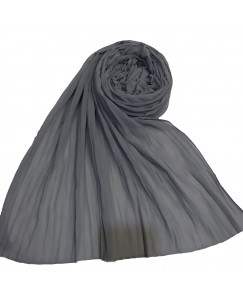 Stole For Women - Fabric - Chiffon Fabric - Quality On Point - Pleated Liner Chiffon Hijab - Grey - Size - 75/185 CM