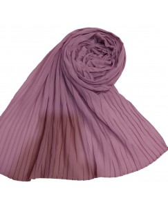 Stole For Women - Fabric - Chiffon Fabric - Quality On Point - Pleated Liner Chiffon Hijab - Purple - Size - 75/185 CM