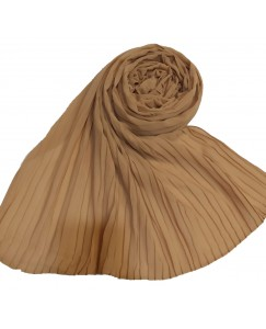 Stole For Women - Fabric - Chiffon Fabric - Quality On Point - Pleated Liner Chiffon Hijab - Brown - Size - 75/185 CM