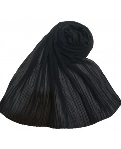 Stole For Women - Fabric - Chiffon Fabric - Quality On Point - Pleated Liner Chiffon Hijab - Black - Size - 75/185 CM