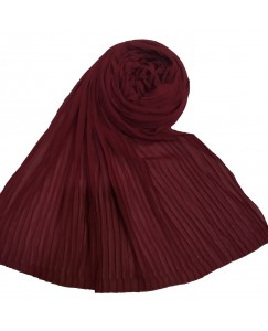 Stole For Women - Fabric - Chiffon Fabric - Quality On Point - Pleated Liner Chiffon Hijab - Maroon - Size - 75/185 CM