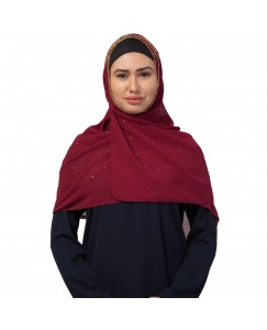 Stole For Women  -  Fabric -  Georgette Fabric - Diamond Studed All Over The Hijab - Gold Zari Diamond Hand Work Done Over The Side's Of The Hijab - Maroon - Size - 75/185 CM
