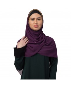 Stole For Women  -  Fabric -  Georgette Fabric - Diamond Studed All Over The Hijab - Gold Zari Diamond Hand Work Done Over The Side's Of The Hijab - Purple - Size - 75/185 CM