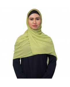 Stole For Women  -  Fabric -  Georgette Fabric - Diamond Studed All Over The Hijab - Gold Zari Diamond Hand Work Done Over The Side's Of The Hijab - Green - Size - 75/185 CM