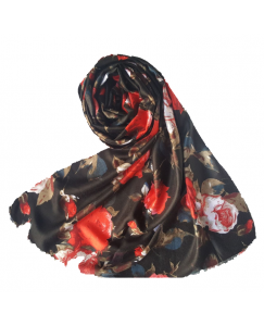 Stole For Women - Cotton Fabric -  Printed Women's Stole - Black - Size - 75/185 CM