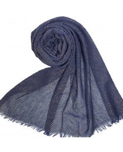 Stole For Women - Crinkled Cotton Fabric -  Mesh Sparkling Women's Stole - Blue - Size - 75/185 CM
