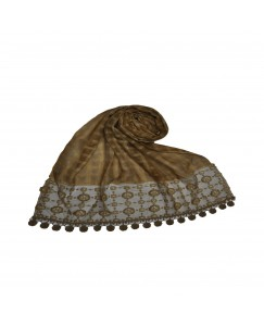 Stole For Women -  Box Checkered - Fabric - Cotton -  Circular Design With Sequence -  Styled Circular Fringe's  Hijab - Brown - Size - 75/185 CM