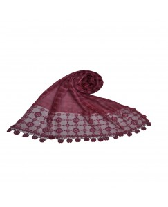 Stole For Women -  Box Checkered - Fabric - Cotton -  Circular Design With Sequence -  Styled Circular Fringe's  Hijab - Maroon - Size - 75/185 CM