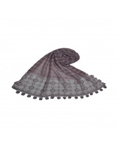 Stole For Women -  Box Checkered - Fabric - Cotton -  Circular Design With Sequence -  Styled Circular Fringe's  Hijab - Light Purple - Size - 75/185 CM