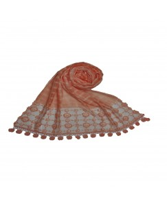 Stole For Women -  Box Checkered - Fabric - Cotton -  Circular Design With Sequence -  Styled Circular Fringe's  Hijab - Orange - Size - 75/185 CM
