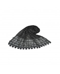 Stole For Women -  Box Checkered - Fabric - Cotton -  Circular Design With Sequence -  Styled Circular Fringe's  Hijab - Grey - Size - 75/185 CM