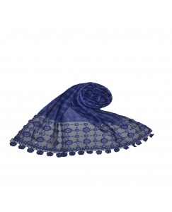 Stole For Women -  Box Checkered - Fabric - Cotton -  Circular Design With Sequence -  Styled Circular Fringe's  Hijab - Blue - Size - 75/185 CM