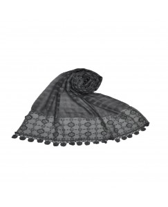 Stole For Women -  Box Checkered - Fabric - Cotton -  Circular Design With Sequence -  Styled Circular Fringe's  Hijab - Light Grey - Size - 75/185 CM