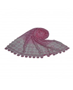 Stole For Women -  Box Checkered - Fabric - Cotton -  Circular Design With Sequence -  Styled Circular Fringe's  Hijab - Pink - Size - 75/185 CM