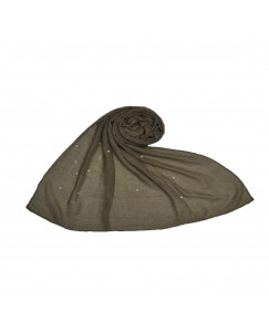 Stole For Women  - Fabric - Cotton - Rain Drop Hijab With Big and Small Dew Drop Beats  - Brown - Size - 75/185 CM