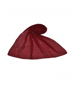 Stole For Women  - Fabric - Cotton - Rain Drop Hijab With Big and Small Dew Drop Beats  - Red - Size - 75/185 CM