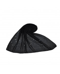 Stole For Women  - Fabric - Cotton - Rain Drop Hijab With Big and Small Dew Drop Beats  - Black - Size - 75/185 CM
