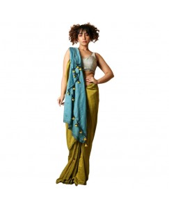 RootsCommerce Blue & olive green Color Staple Cotton Saree