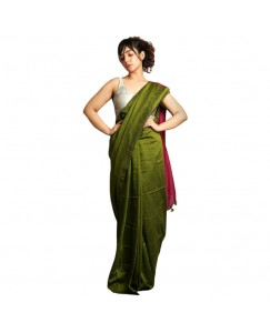 RootsCommerce Dark Green & Pink Color Staple Cotton Saree