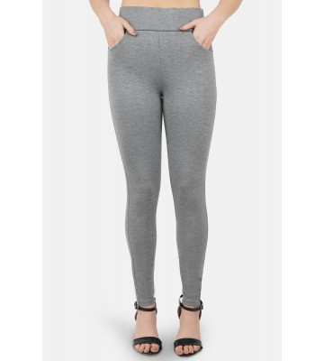 Women Grey Solid Slim-Fit Jegging