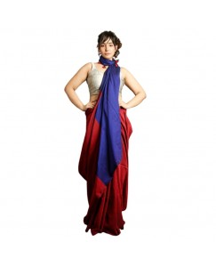 RootsCommerce Red & Blue Staple Cotton Saree