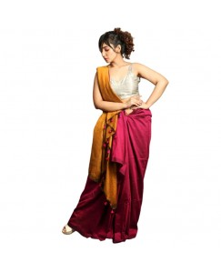 RootsCommerce Rich Gold & Pink Color Staple Cotton Saree