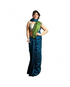 RootsCommerce Sky Blue & Green Staple Cotton Saree