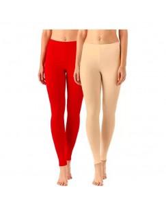 Shanayaa Ankle Length  Legging(Red, Beige)