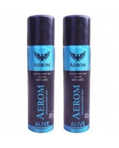 Aerom Alive and Alive Deodorant Body Spray For Men, 300 ml (Pack of 2)