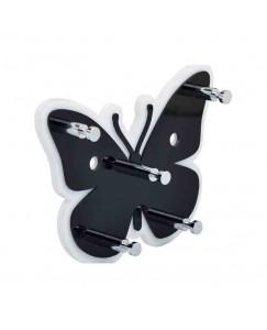 Best Cart Vaishvi Butterfly Wall Mounted Key Holder Acrylic Key Rack Hooks and Decorative Multipurpose Hanging Hook Rack Black & White Color