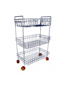 Vaishvi 3 Layer Fruit And Vegetables Storage Basket Fixed With Wheels For Kitchen – Stainless Steel (Bestcart4You)