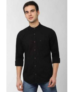 Urban Fort Men Solid Black Casual Shirt