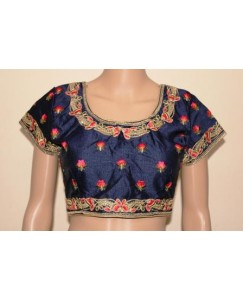 Tanvisha Navy Blue Dupion Silk Embroidered Padded Blouse