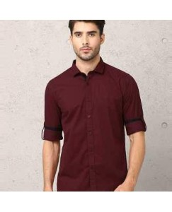 Urban Fort Men Slim Fit Collar maroon Casual Shirt
